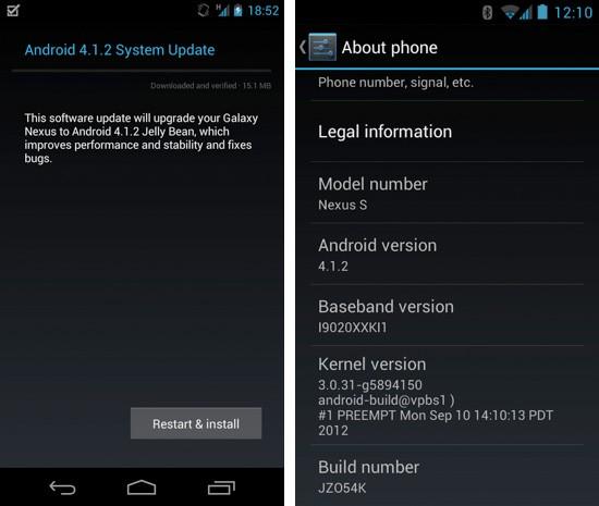 android 412 galaxy nexus and nexus s - Android 4.1.2 arrive via OTA
