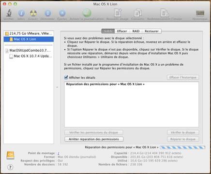 reparation permission disque