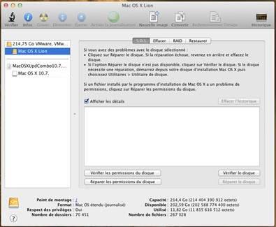 utilitaire disque - VMware OS X 10.7.5 sous Windows