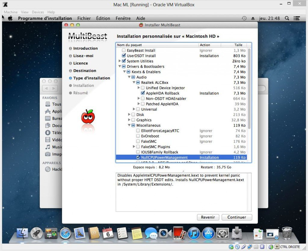 MultiBeast installation personnalisee 1024x832 - Comment installer OS X sur votre PC avec VirtualBox ?