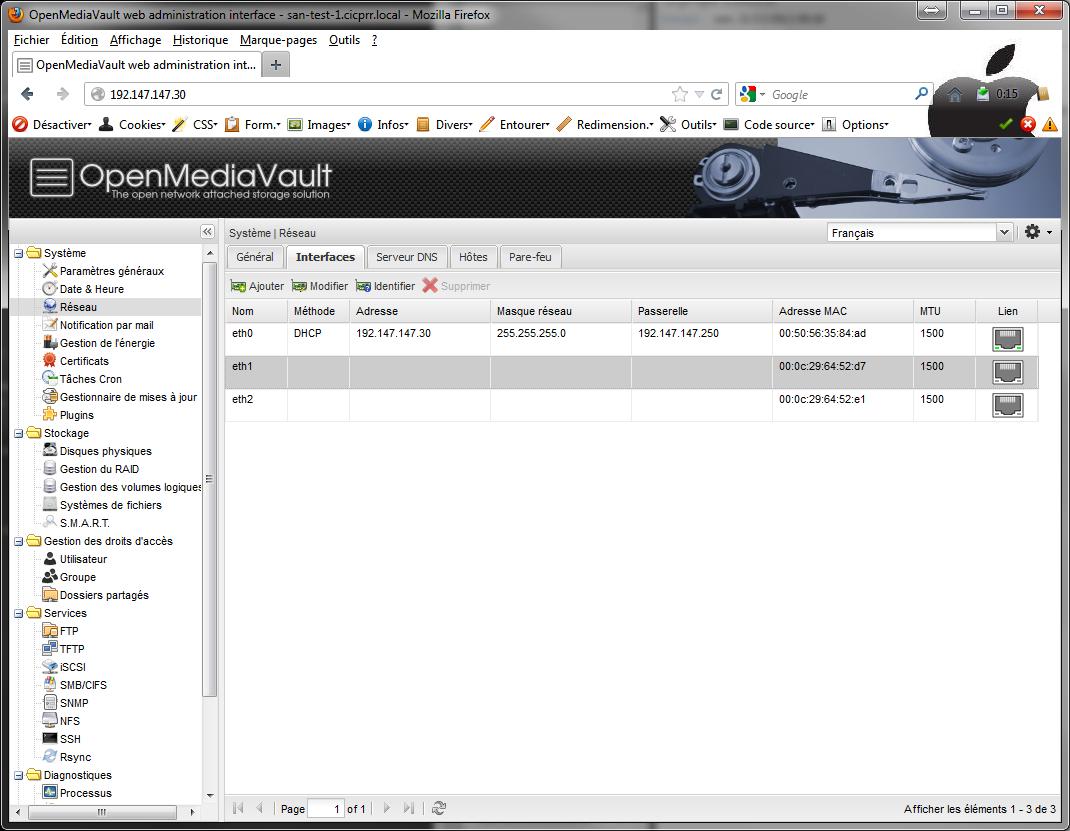 Network 1 - [MAJ] - Installer 2 serveurs de données (SAN) répliqués avec OpenMediaVault et DRBD