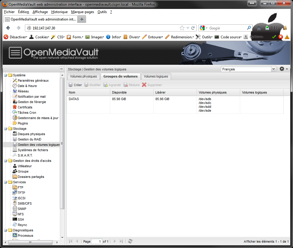 OpenMediaVault LVM VG created - [MAJ] - Installer 2 serveurs de données (SAN) répliqués avec OpenMediaVault et DRBD