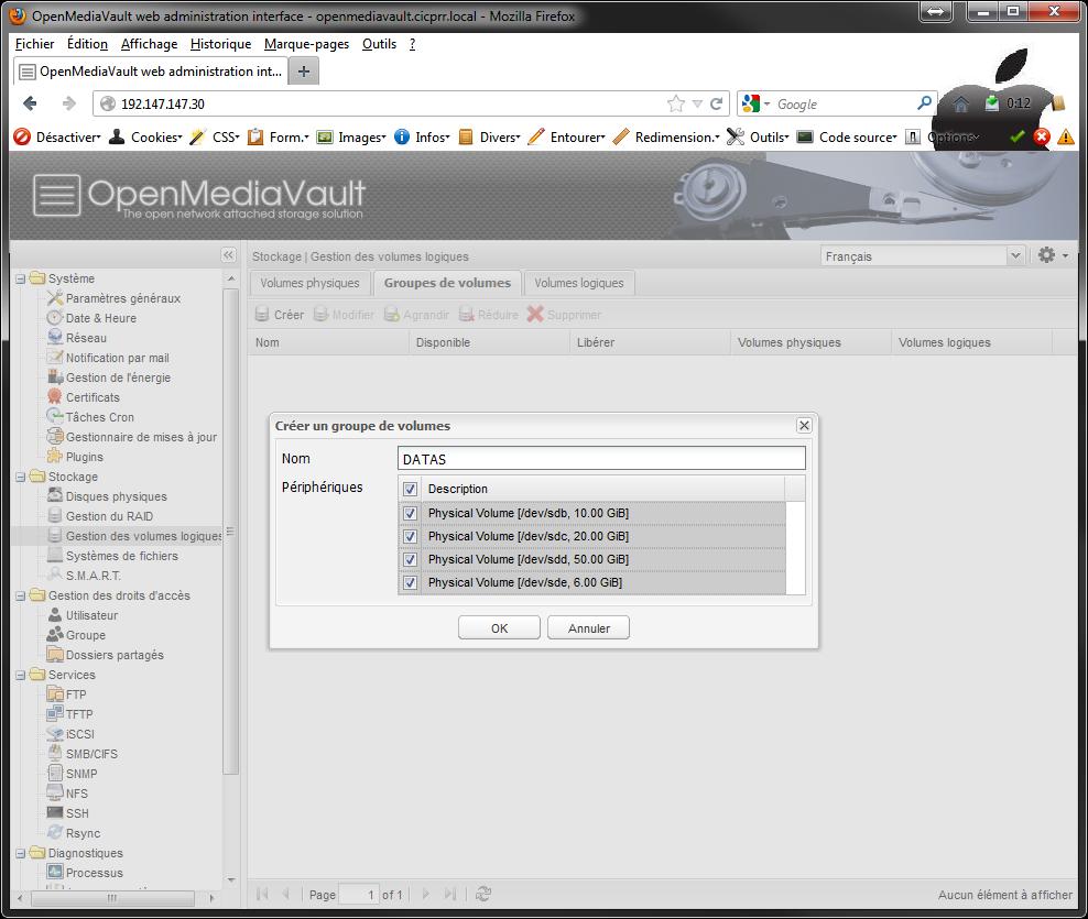OpenMediaVault LVM VG select PV - [MAJ] - Installer 2 serveurs de données (SAN) répliqués avec OpenMediaVault et DRBD
