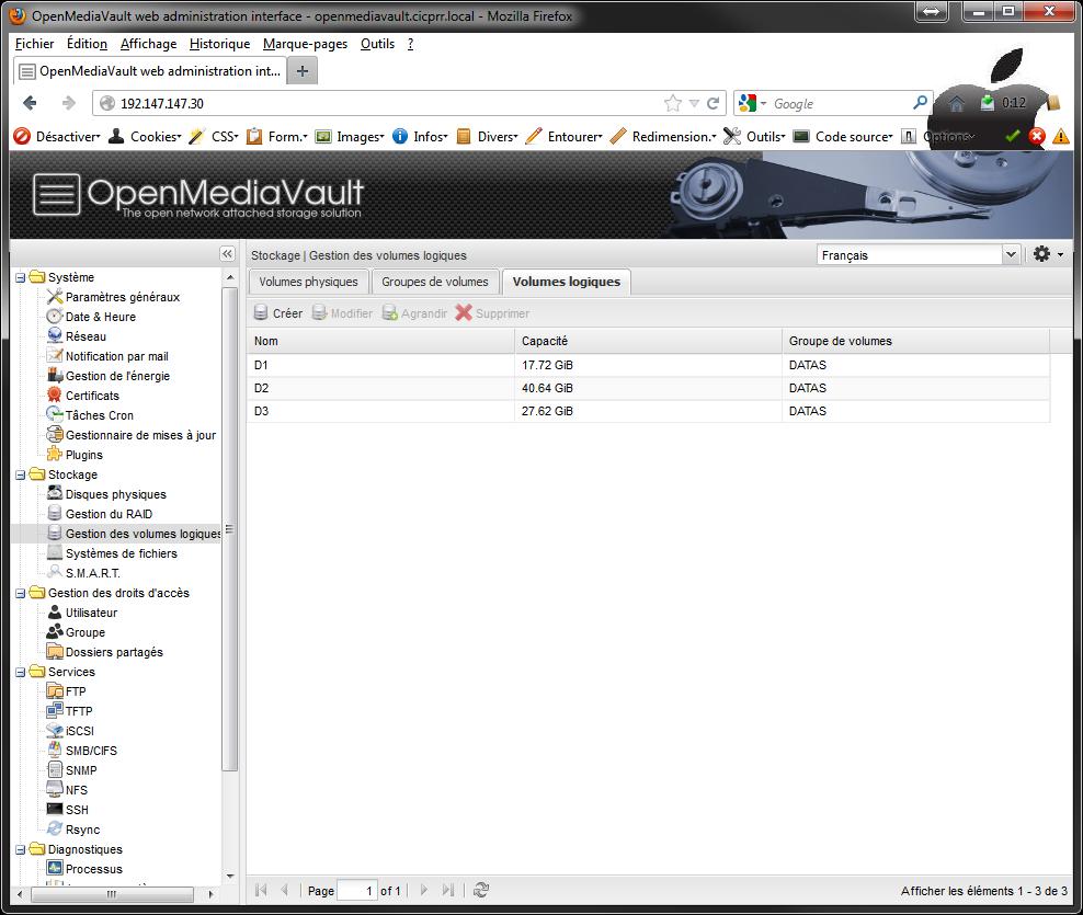 OpenMediaVault LVM all LV created - [MAJ] - Installer 2 serveurs de données (SAN) répliqués avec OpenMediaVault et DRBD