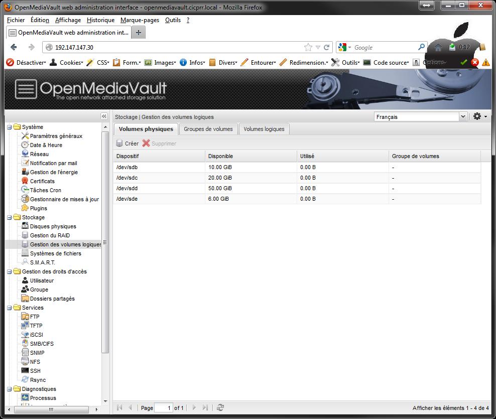 OpenMediaVault LVM all PV created - [MAJ] - Installer 2 serveurs de données (SAN) répliqués avec OpenMediaVault et DRBD