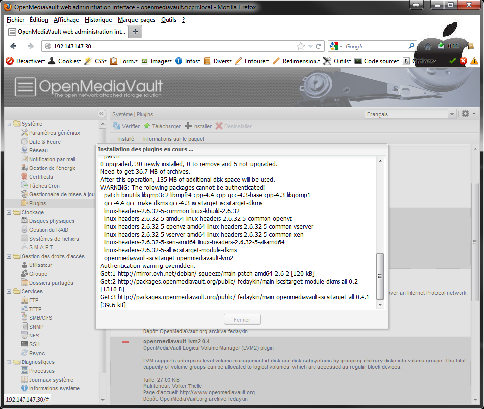 OpenMediaVault plugins install start - [MAJ] - Installer 2 serveurs de données (SAN) répliqués avec OpenMediaVault et DRBD