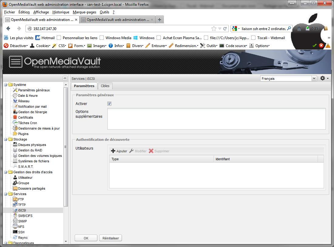 iSCSI1 - [MAJ] - Installer 2 serveurs de données (SAN) répliqués avec OpenMediaVault et DRBD