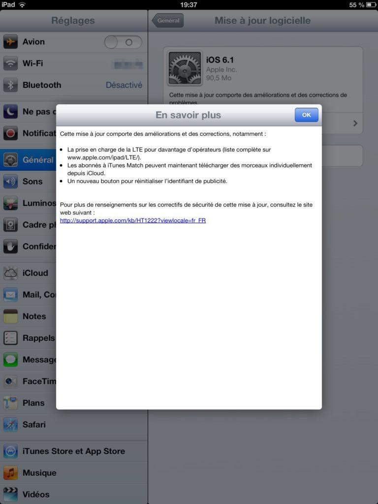 ipad ios 6.1 768x1024 - iOS 6.1 est disponible et son jailbreak aussi...