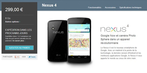 google nexus 4 - 1 million de Nexus 4 vendus