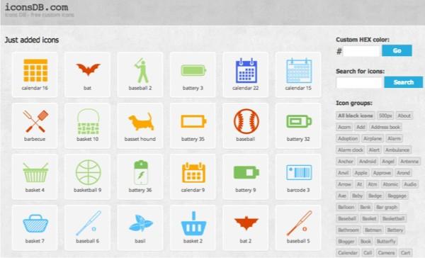 iconsDB - 5 sites d'icônes gratuites