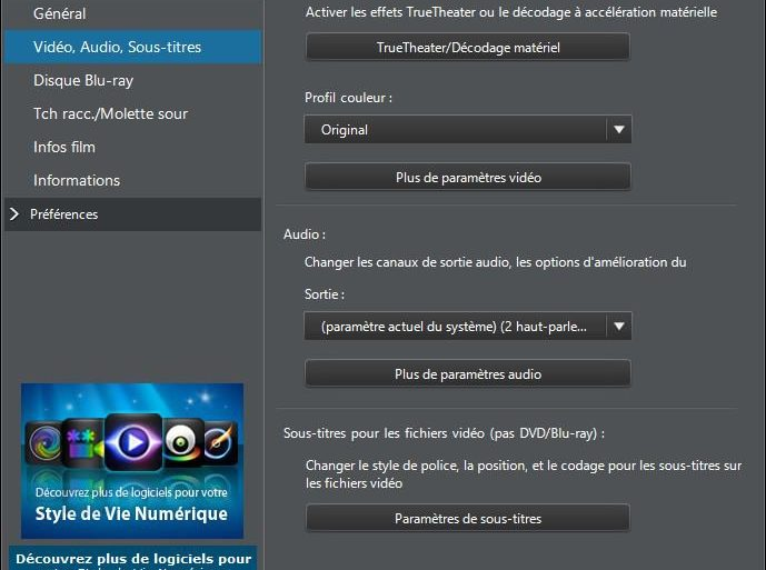 menu parametre powerdvd 13 689x513 - PowerDVD 13 est disponible...