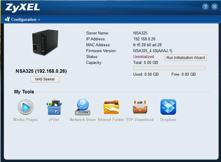 configuration - Test NAS - ZyXEL NSA325