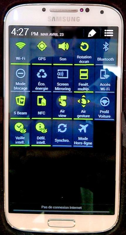 parametres rapides - Prise en main du Samsung Galaxy S4