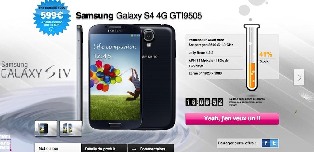 samsung galaxy S4 - Samsung Galaxy S4 moins cher