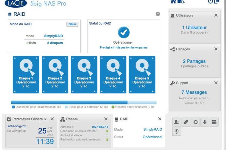 interface lacie raid 5big nas pro 770x513 - NAS - LaCie va proposer une mise à jour