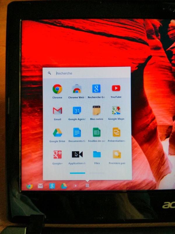 applications menu chromebook - Test du Chromebook Acer C7