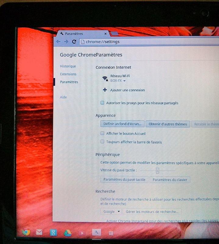 google chromeOS parametres - Test du Chromebook Acer C7