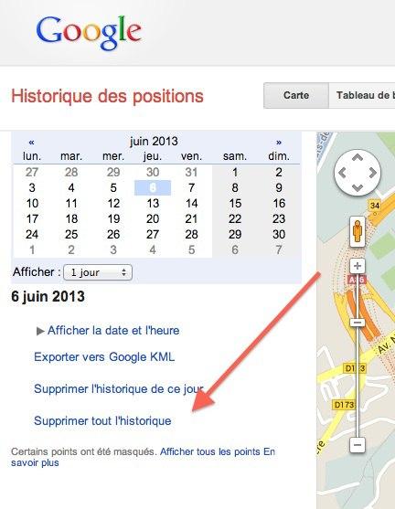 supprimer historique positions google