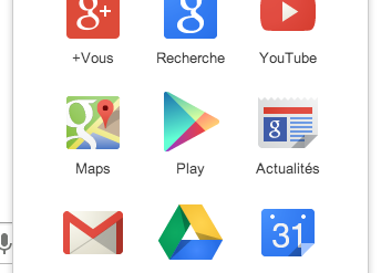 Menu Google 344x247 - Chrome se met à jour... et Google change de logo