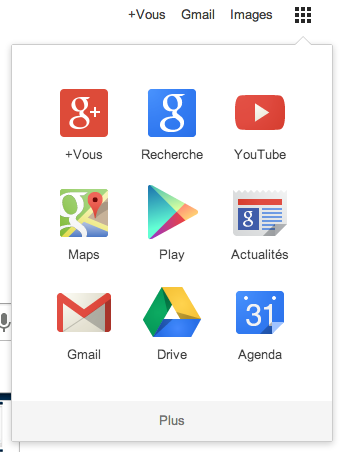 Menu Google