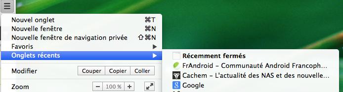 onglets recemment fermes - Chrome se met à jour... et Google change de logo