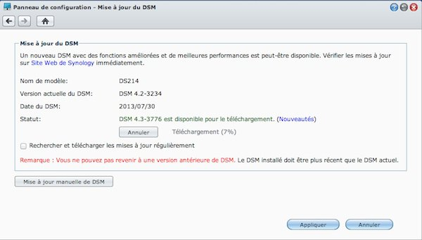 mise jour dsm - Test du Synology DS214