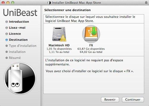 choix installation uniBeast - Installer OS X Mavericks sur PC