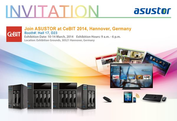 2014 Cebit Invitation card - Asustor présente ADM 2.2 au CeBit 2014