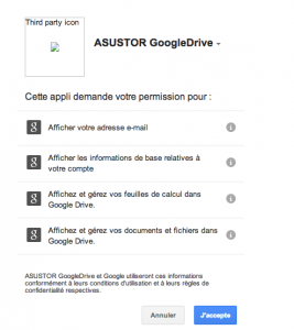 Google Drive autorisations 267x300 - ASUSTOR ADM 2.2 Beta, le premier test