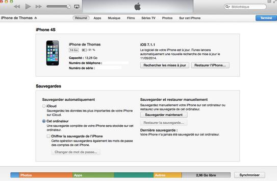 iTunes avant nettoyage - Test PhoneClean 2014