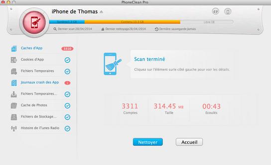 nettoyage avant - Test PhoneClean 2014