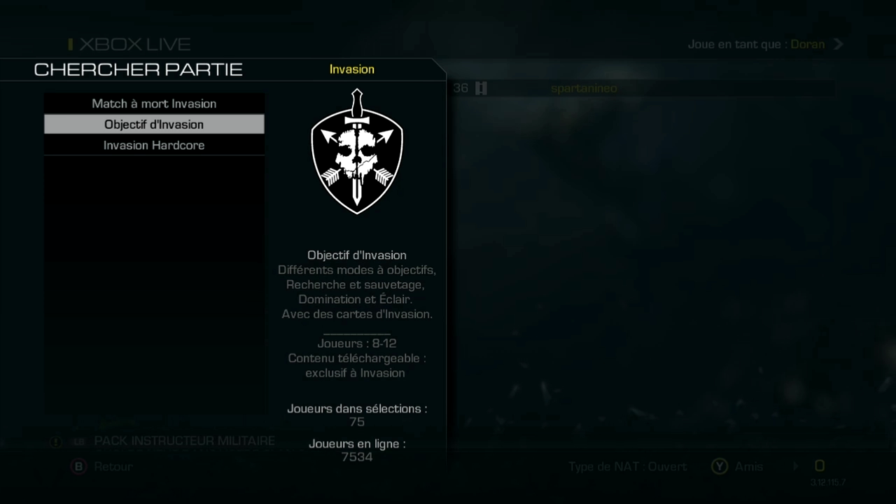 Menu Invasion multi cod ghosts