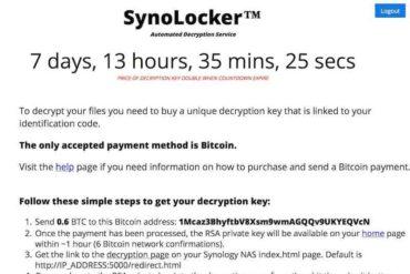 SynoLocker 370x247 - SynoLocker demande 0,6 bitcoin pour débloquer votre Synology