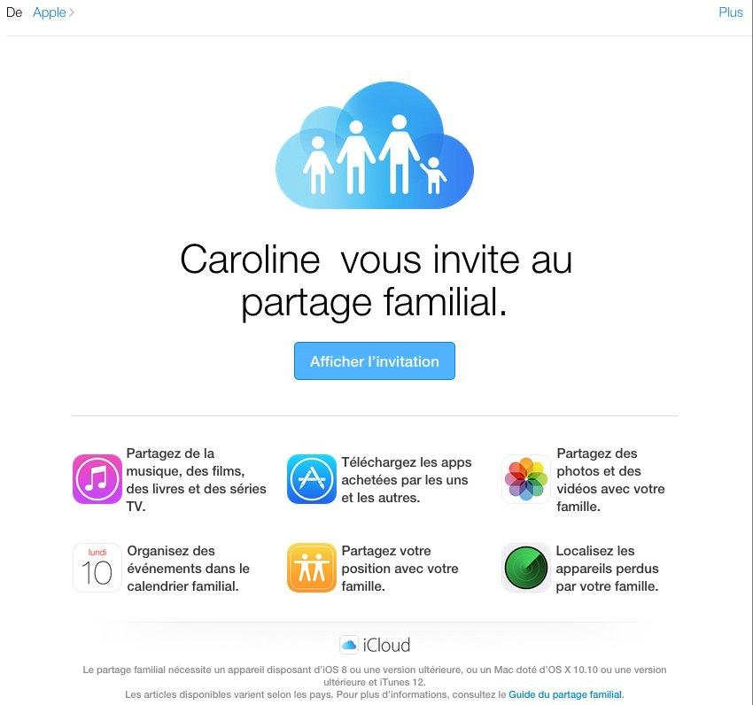 invitation famille - Partage familial sous iOS 8, partageons votre CB...