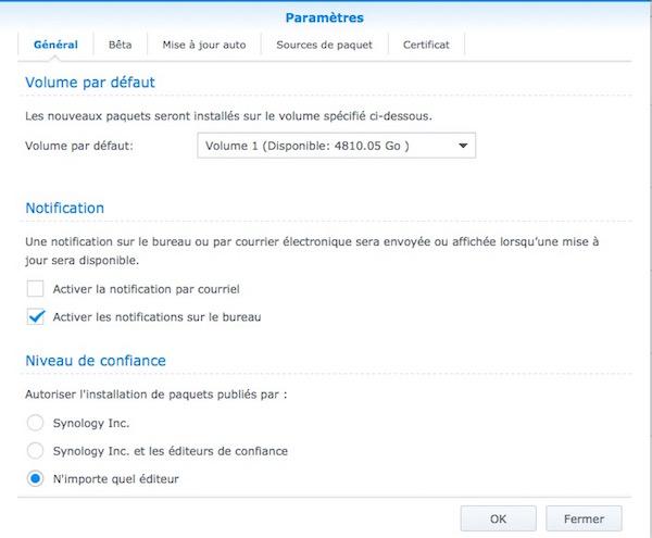 parametre centre paquets - Synology - Comment modifier le niveau de confiance ? Ou comment installer un paquet sans certificat.