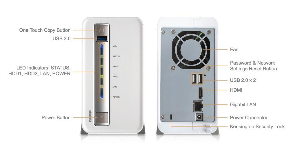 QNAP TS 251C avant arriere - NAS - QNAP TS-251C (Celeron + sortie HDMI) à 249 euros