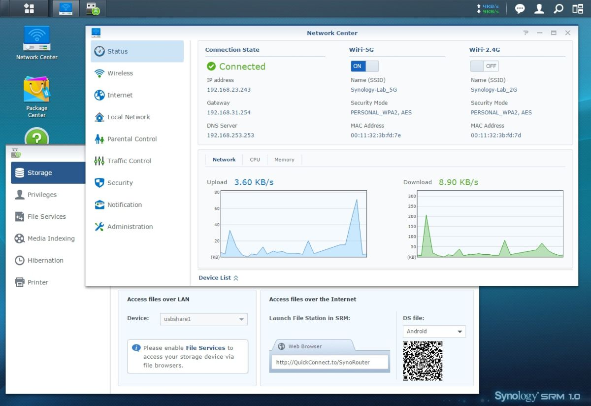 SRM Network center - NAS - Synology DSM 6.0, DS716+, RT1900ac, applications...