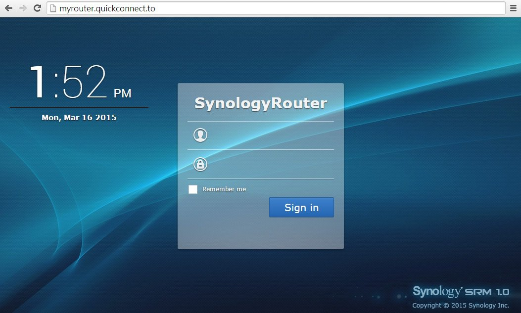 Synology Router Manager - login