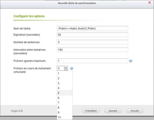 tache synchro hubic fichiers - QNAP et Hubic