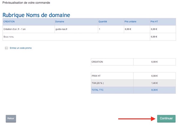 achat domaine 5 recap commande - Auto-hébergement : Créer son nom de domaine