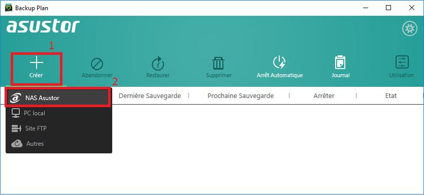 creation backup1 - Asustor - Sauvegarder ses données en lieu sûr