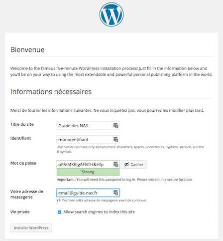 informations wordpress - Auto-hébergement : Monter un site web en 10 minutes avec un NAS