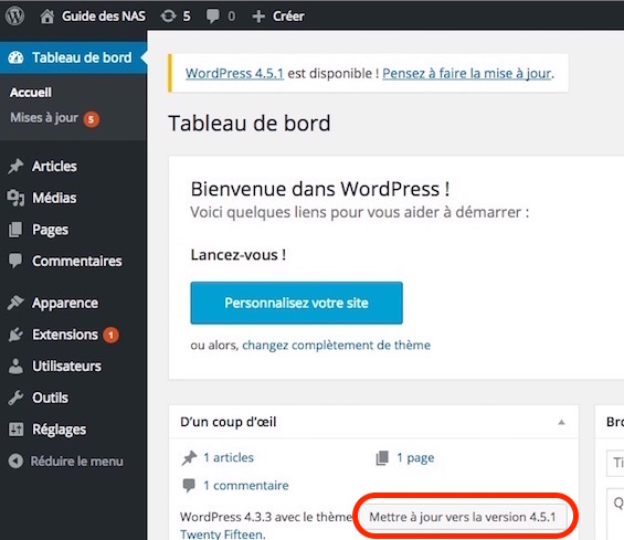 mise-a-jour-wordpress-synology