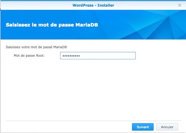 mot passe mariaDB Wordpress - Auto-hébergement : Monter un site web en 10 minutes avec un NAS
