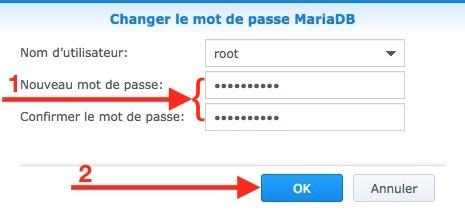 mot passe mariadb - Auto-hébergement : Monter un site web en 10 minutes avec un NAS