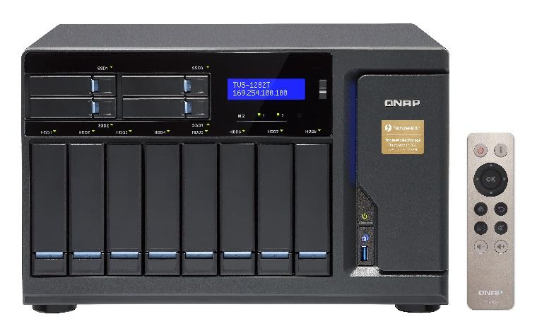 QNAP TV 1282T - NAS - QNAP va lancer la gamme TVS-x82T : Intel Core i3 et i5, DDR4, HDMI 2.0, Thunderbolt 2, 10GbE, M.2, SSD, HDD...