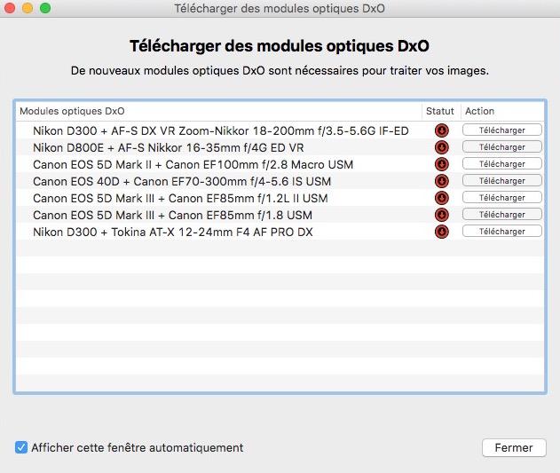 module optiques - MacOS : DxO OpticsPro pour Photos