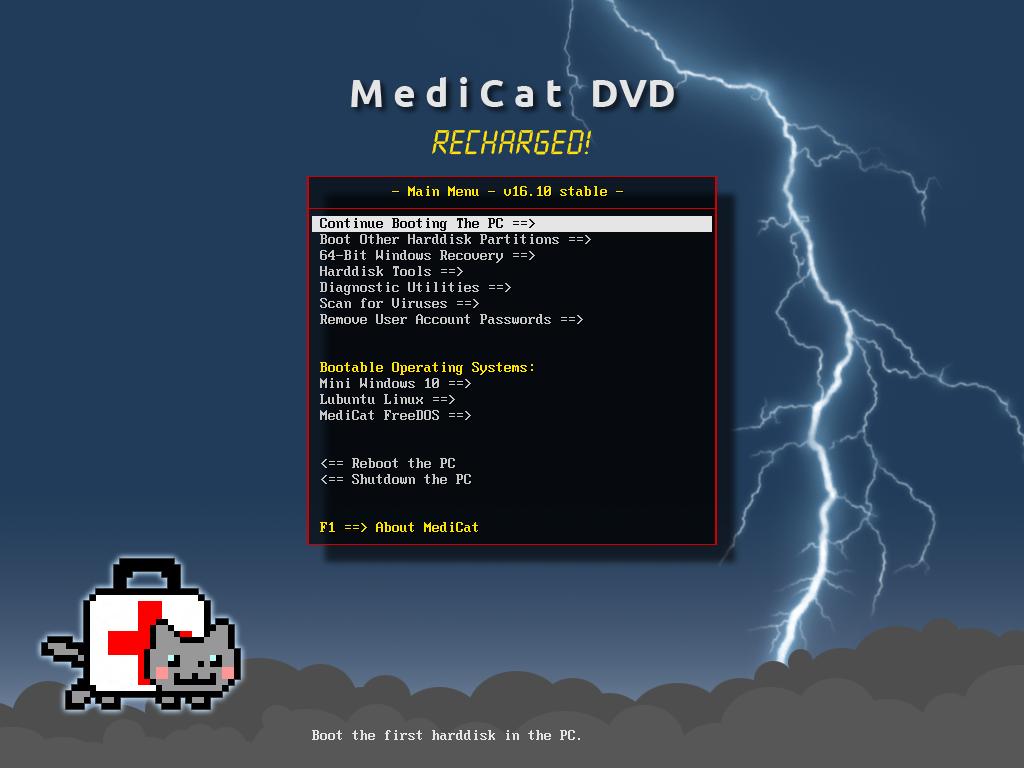 Main Menu - Medicat DVD - dépannage facile sur Windows