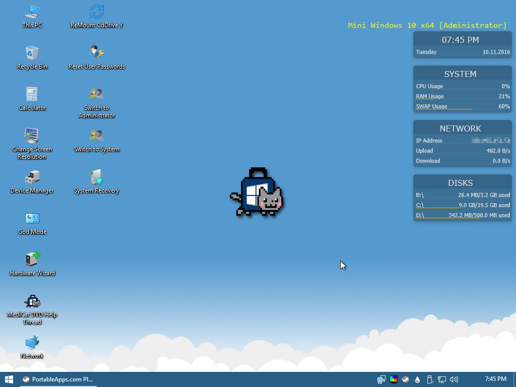 Mini Win10 Desktop - Medicat DVD - dépannage facile sur Windows