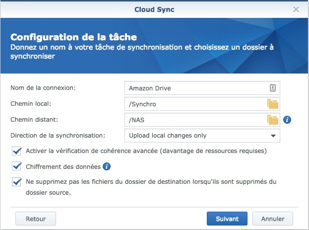 confiugration tache cloud sync - NAS Synology et Amazon Drive